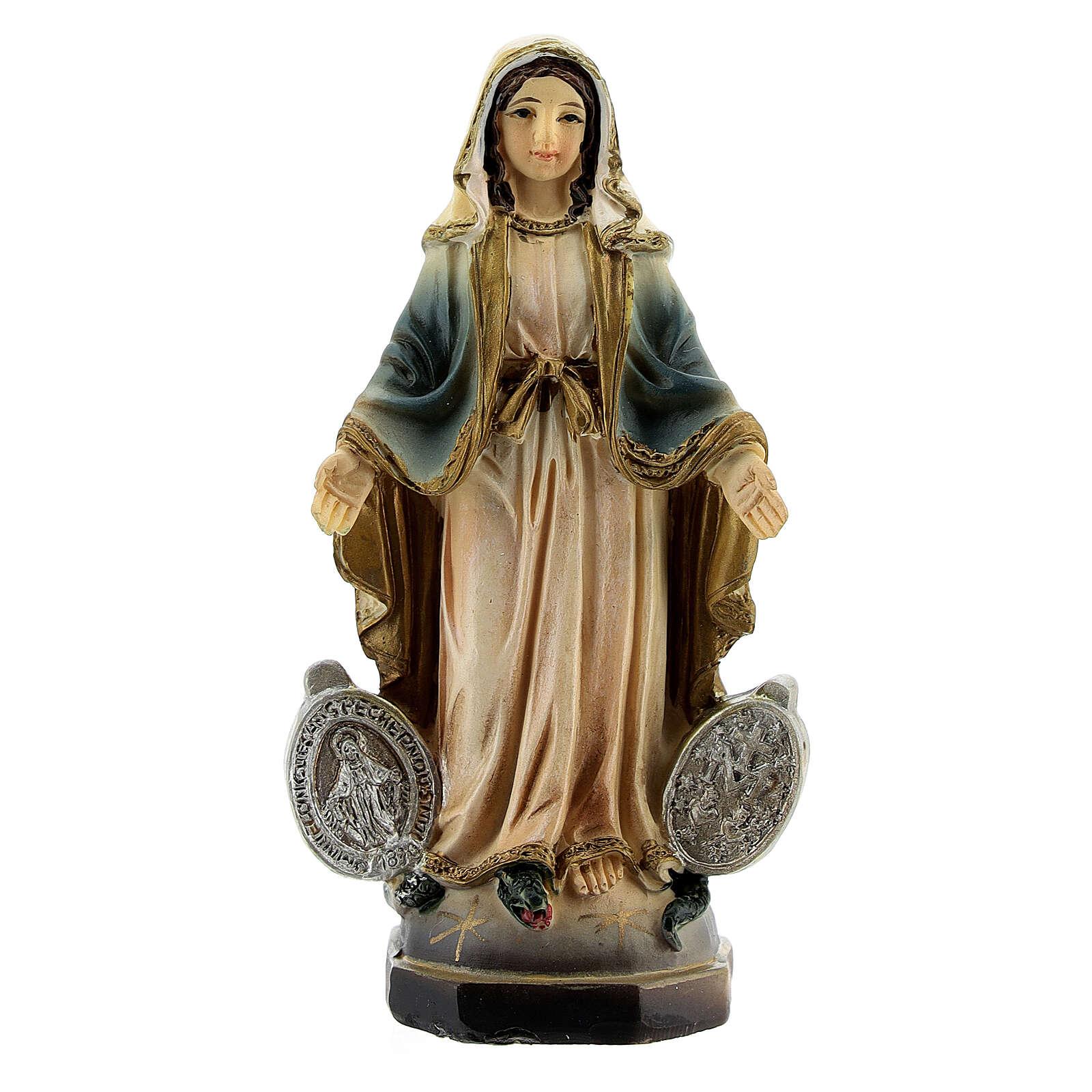 Madonna Miracolosa con medaglia statua resina 8 cm 4