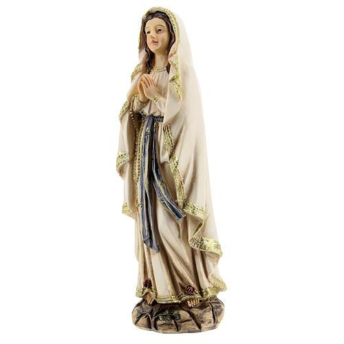 Nuestra Señora Lourdes manos juntas estatuta resina 12,5 cm 2
