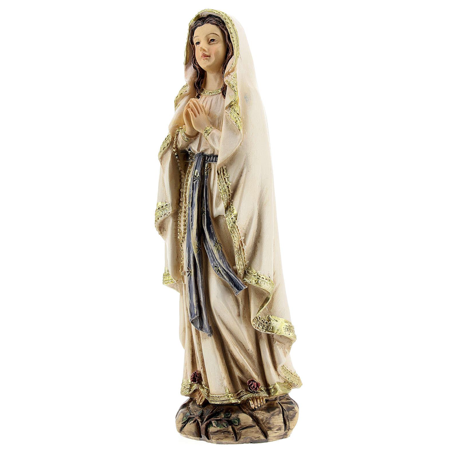 Notre-Dame de Lourdes mains jointes statue résine 12,5 cm 4
