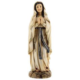 Statue Notre-Dame de Lourdes roses résine 31 cm s1
