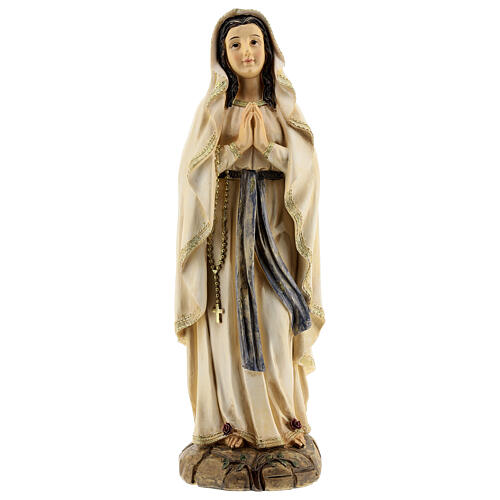 Statue Notre-Dame de Lourdes roses résine 31 cm 1