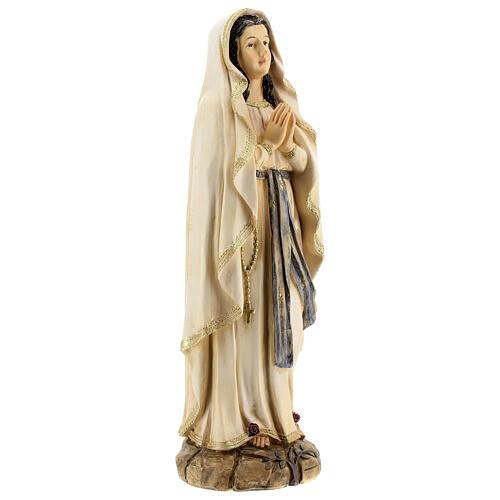 Statue Notre-Dame de Lourdes roses résine 31 cm 4