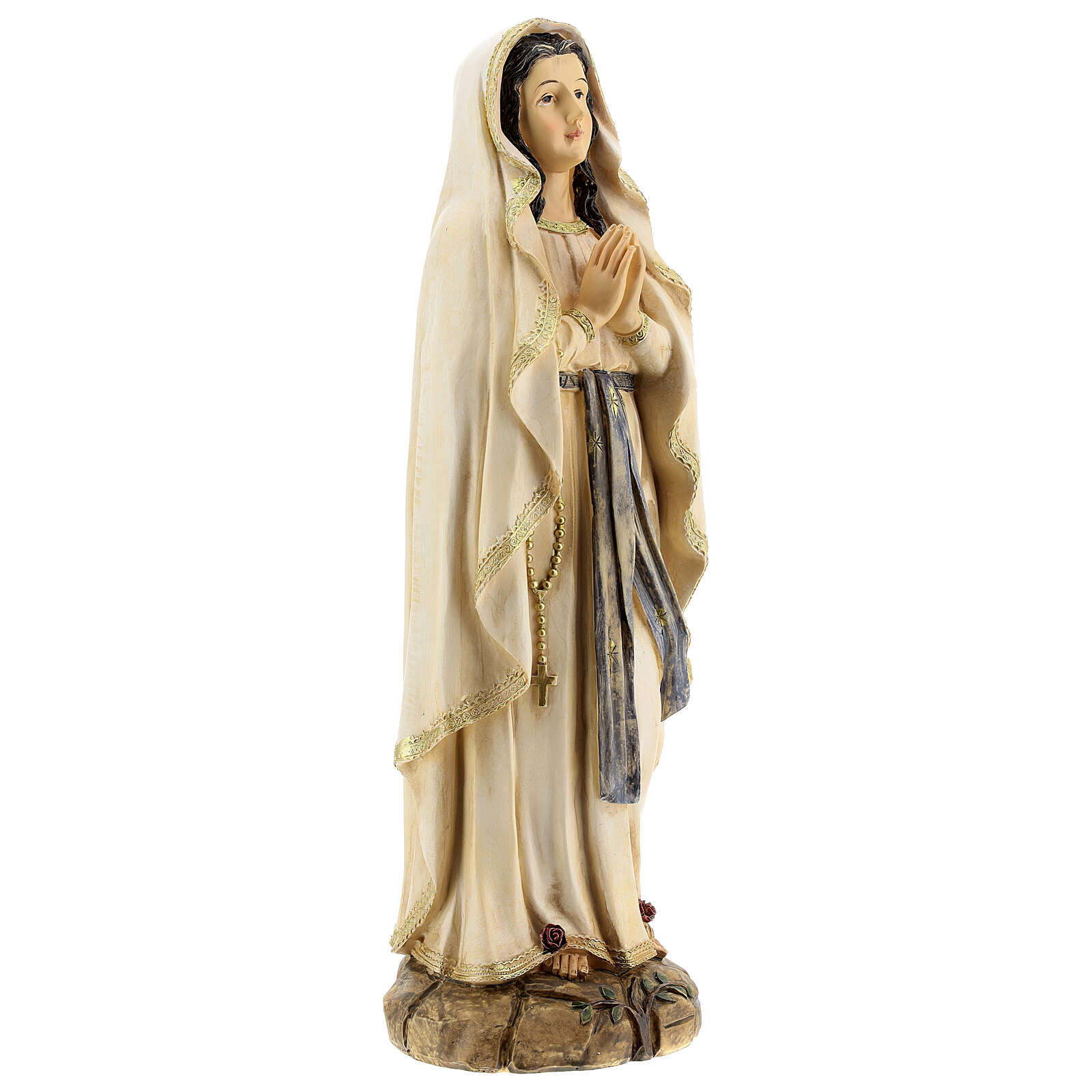 Statue of Our Lady of Lourdes roses resin 31 cm 4