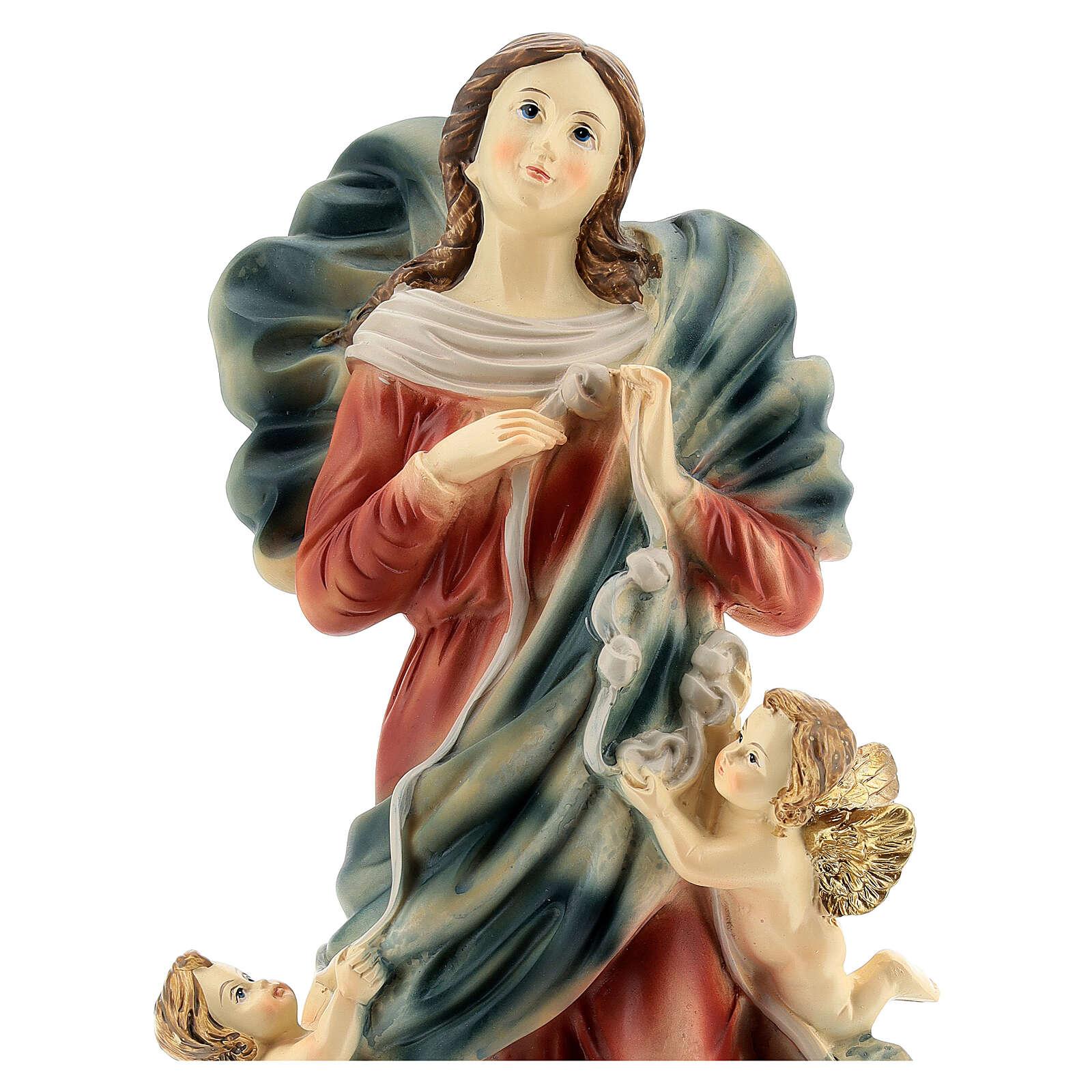María que desata los nudos ángeles estatua resina 31,5 cm 4