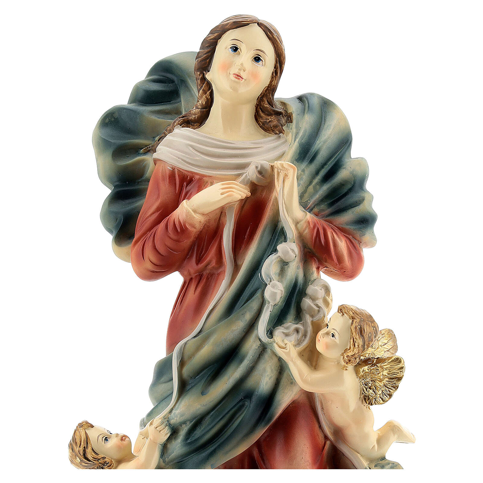Maria che scioglie nodi angeli statua resina 31,5 cm 4