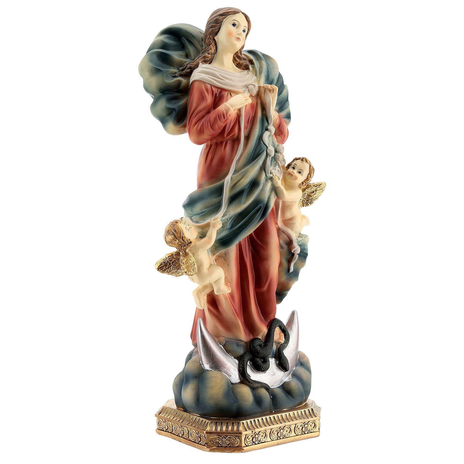 Our Lady undoer of knots statue with angels in resin 31.5 cm 4