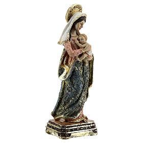Vierge à l'Enfant habits décorés base carrée statue résine 14,5 cm s3
