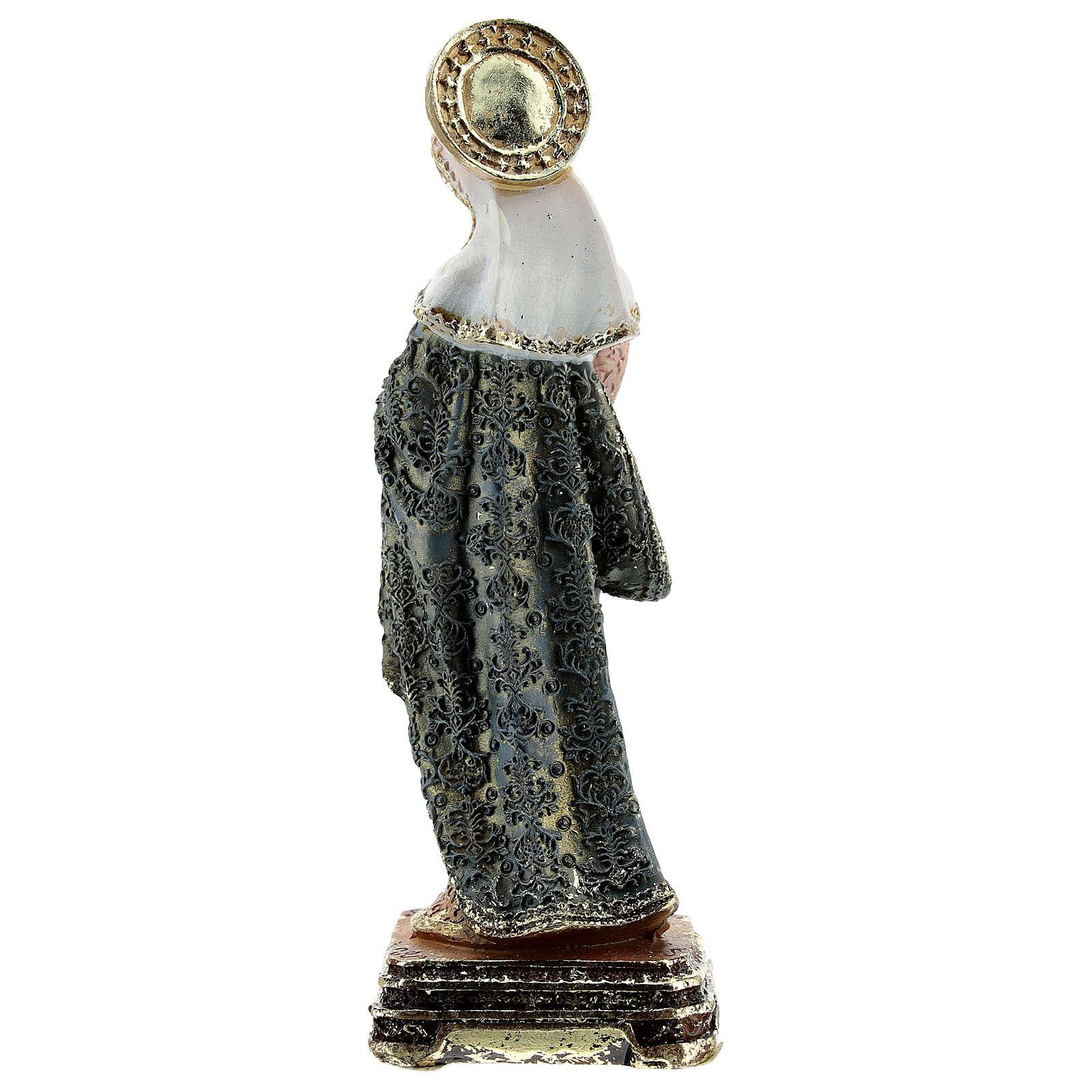 Maria e Bambino vesti ornate base quadrata statua resina 14,5 cm 4