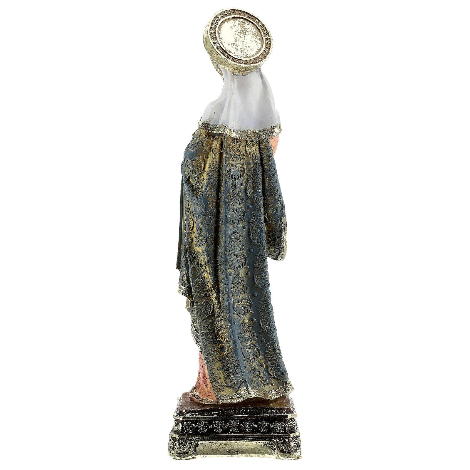 Statua Madonna Bambino base dorata barocca resina h 30,5 cm 4