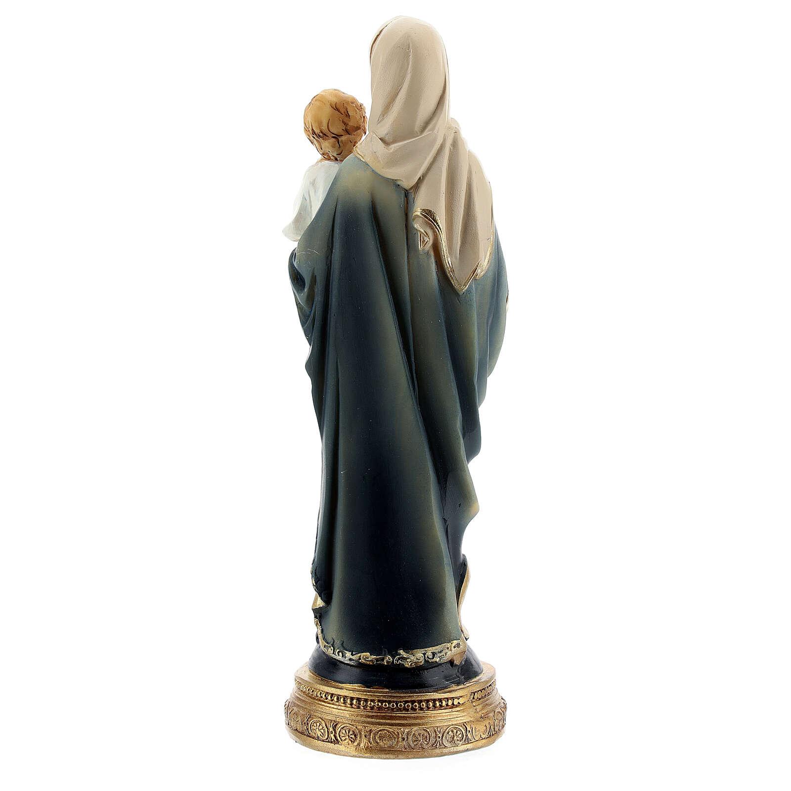 Vierge à l'Enfant chapelet statue résine 15 cm 4