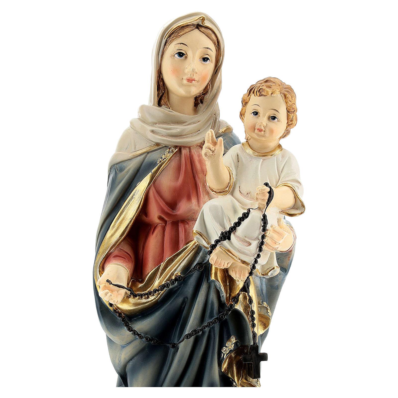 Marie et Jésus chapelet foncé statue résine 31 cm 4