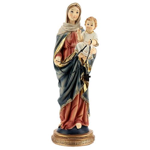 Marie et Jésus chapelet foncé statue résine 31 cm 1