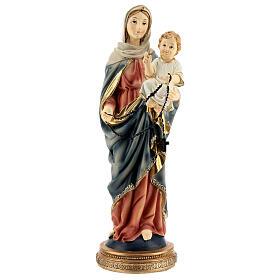 Maria Gesù rosario scuro statua resina 31 cm s1