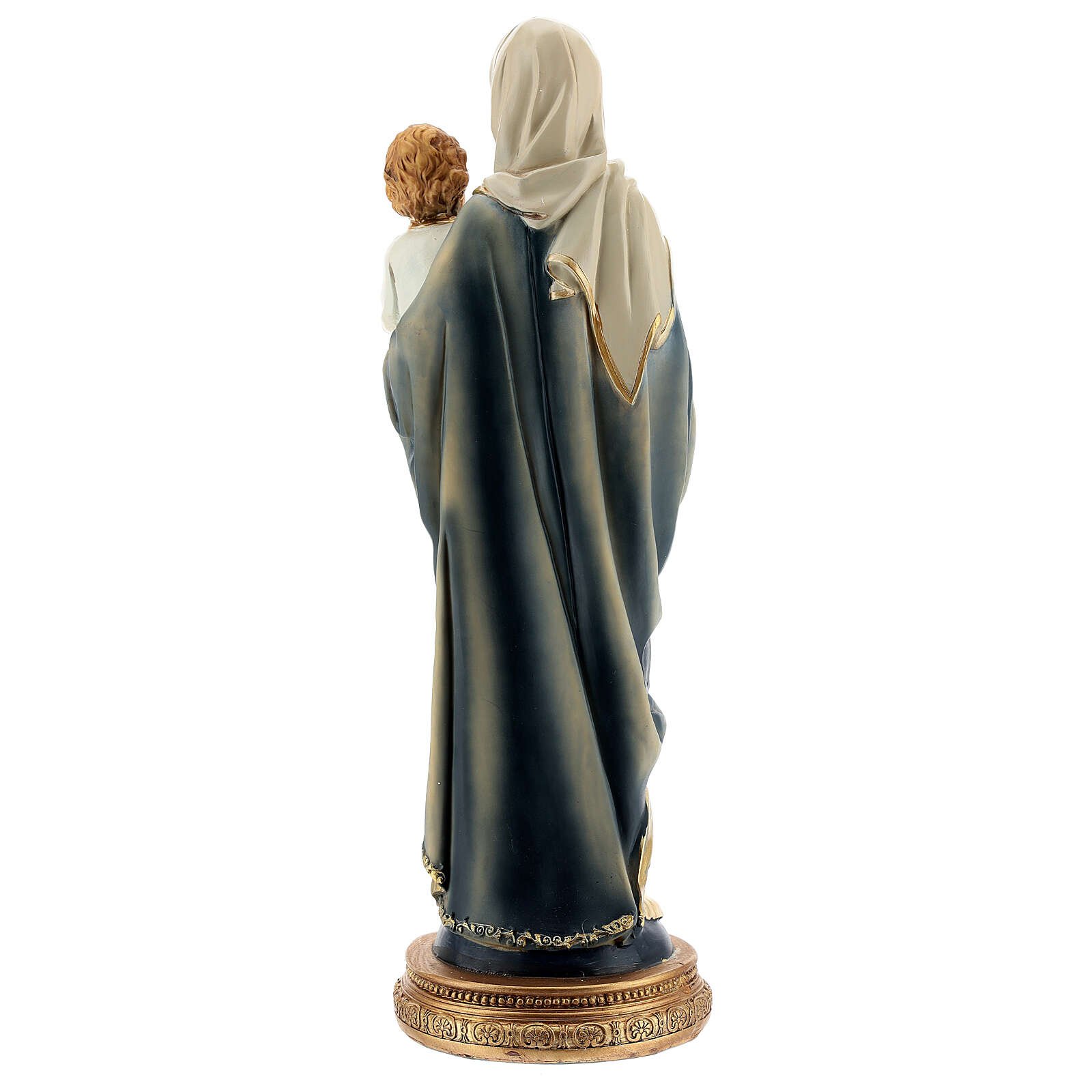 Mary and Child Jesus statue with dark rosary in resin 31 cm 4
