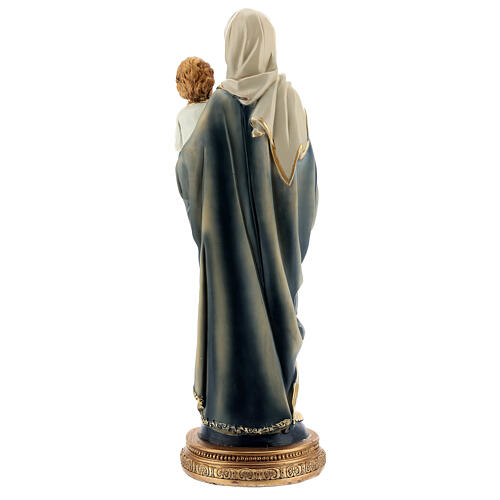 Mary and Child Jesus statue with dark rosary in resin 31 cm 5