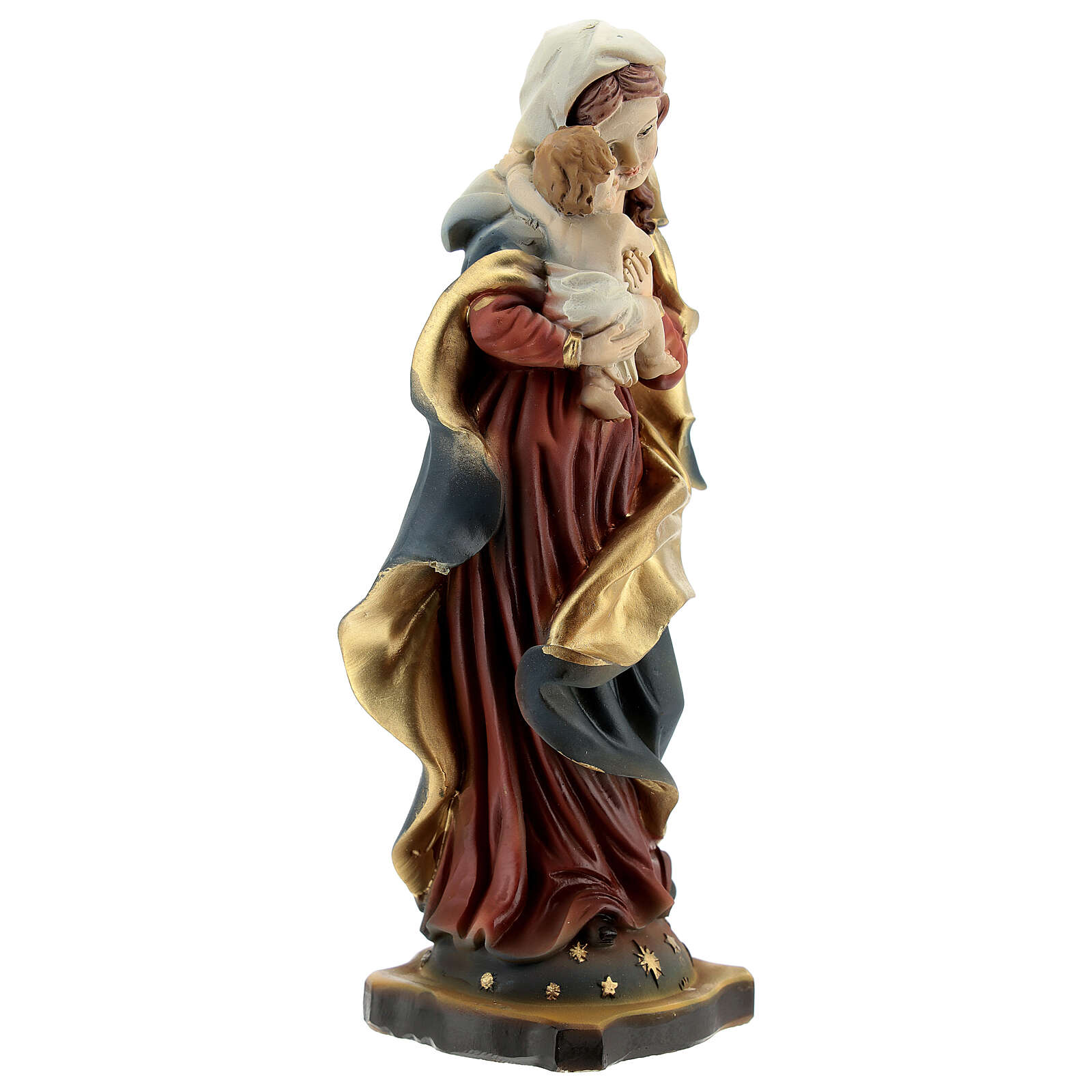 Virgin Mary Baby Jesus sky-blue vault statue resin 14 cm 4
