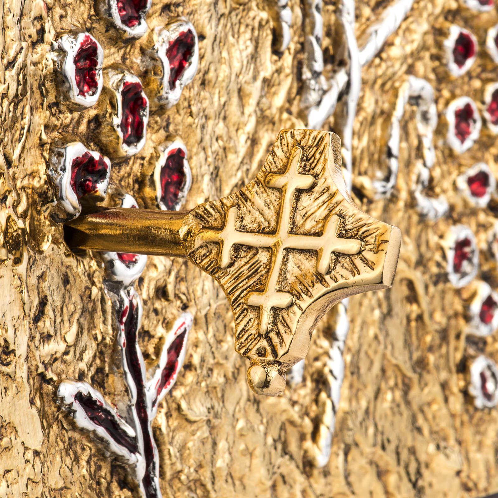 Tabernacle d'autel bois porte en laiton fondu raisins 4
