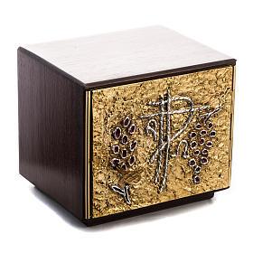 Tabernacle d'autel bois porte en laiton fondu raisins s2