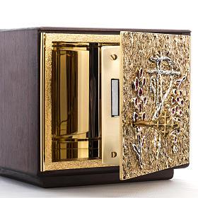Tabernacle d'autel bois porte en laiton fondu raisins s7
