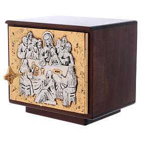 Tabernacolo da mensa Ultima cena legno porta ottone fuso s4