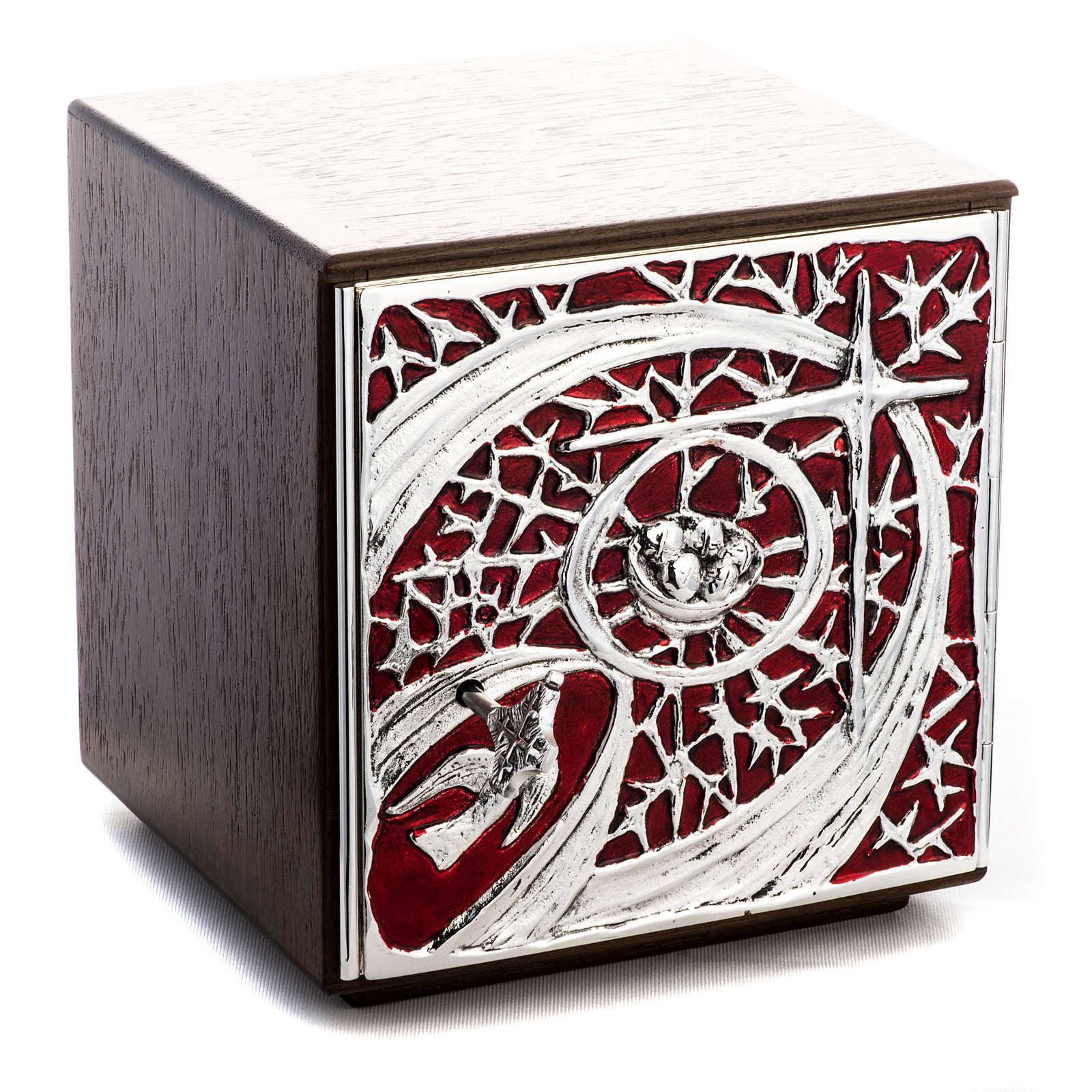 Tabernacle d'autel bois porte en laiton fondu pain 4