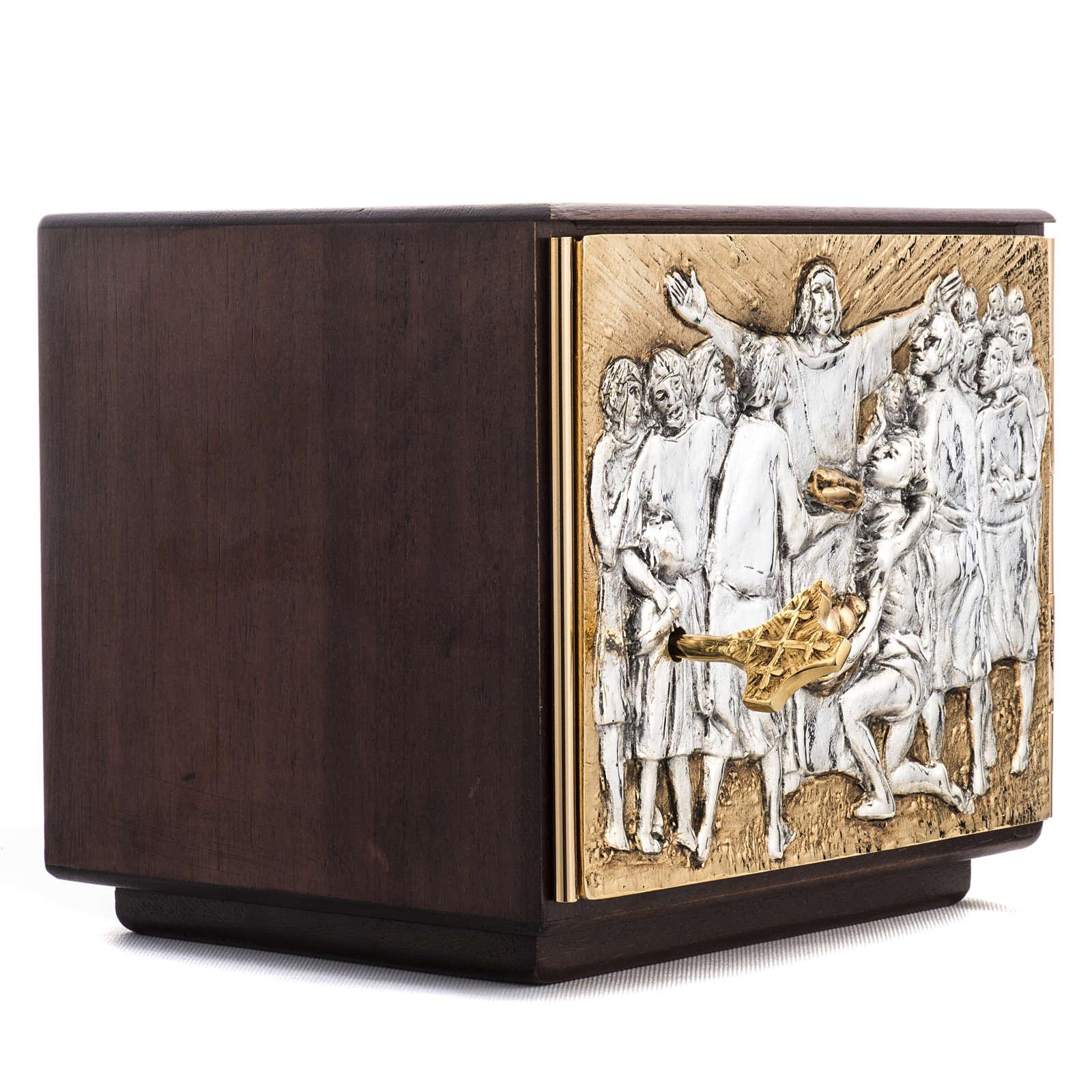 Tabernacle d'autel résurrection bois porte laiton 4
