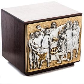 Tabernacle d'autel résurrection bois porte laiton s1