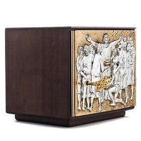 Tabernacle d'autel résurrection bois porte laiton s3