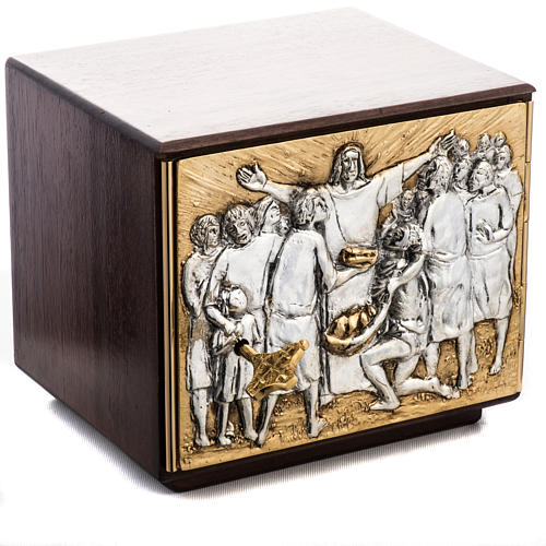 Tabernacle d'autel résurrection bois porte laiton 1