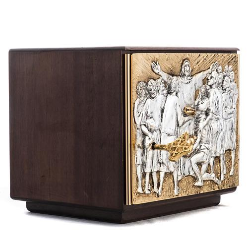 Tabernacle d'autel résurrection bois porte laiton 3