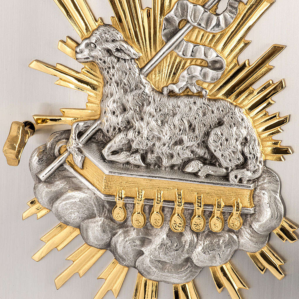 Wall Tabernacle with Lamb of God in bronze and brass 4