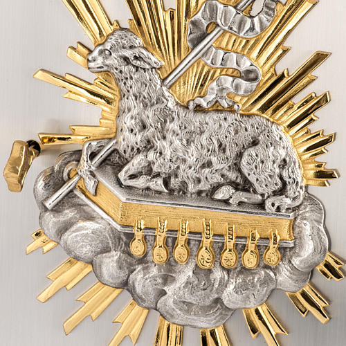 Wall Tabernacle with Lamb of God in bronze and brass 2