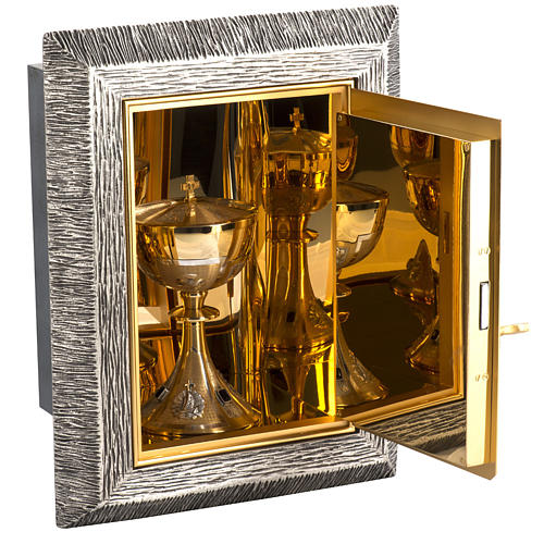 Wall Tabernacle with Lamb of God in bronze and brass 7