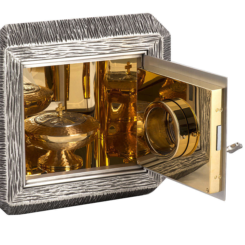 Wall Tabernacle with IHS, brass with bronze details 4