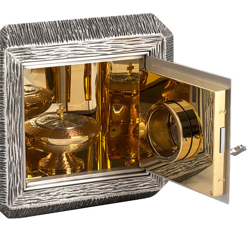 Wall Tabernacle with IHS, brass with bronze details 8