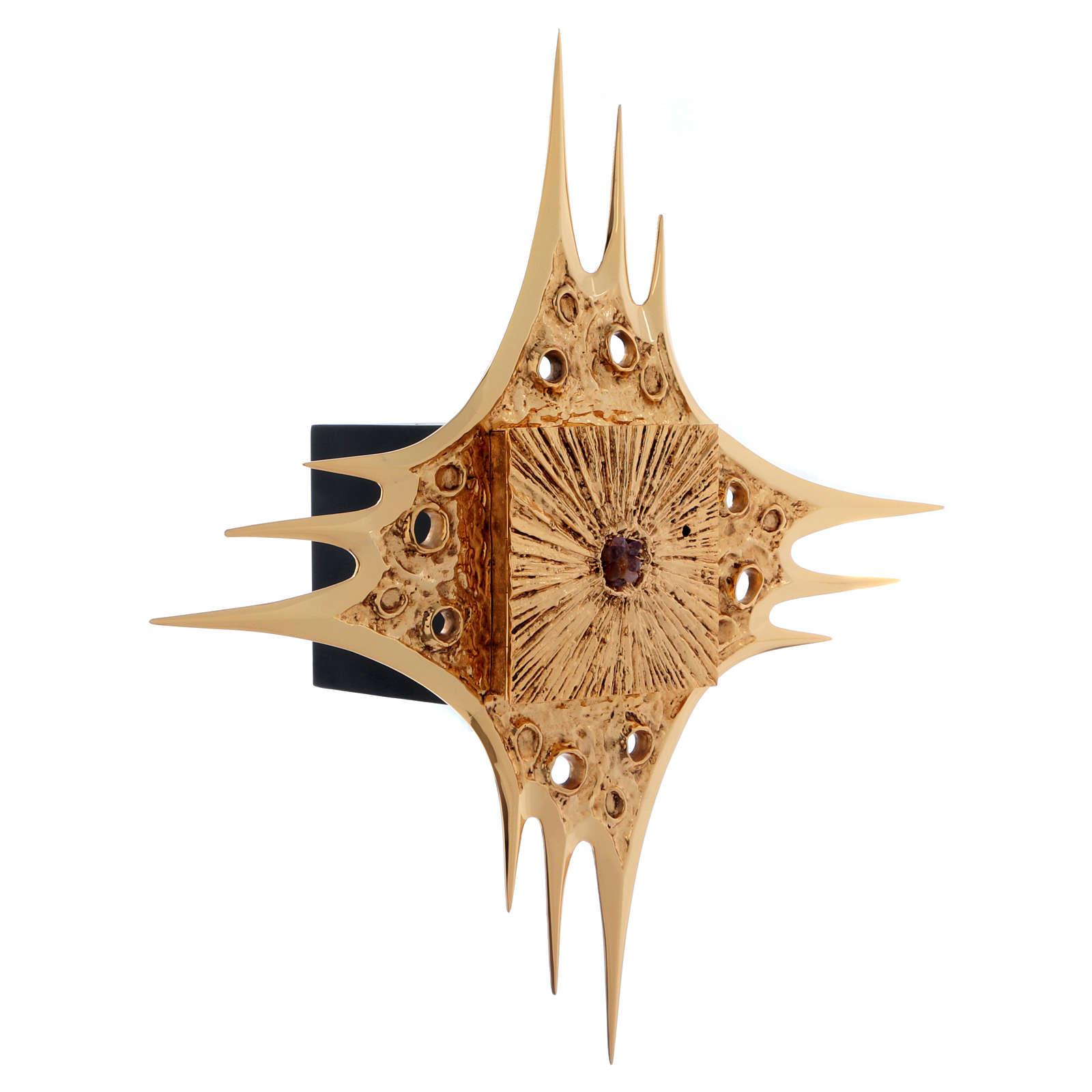 Tabernacle à suspendre laiton doré fleurs 80x80 cm 4