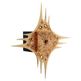 Tabernacle à suspendre laiton doré fleurs 80x80 cm s4