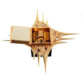 Tabernacle à suspendre laiton doré fleurs 80x80 cm s8