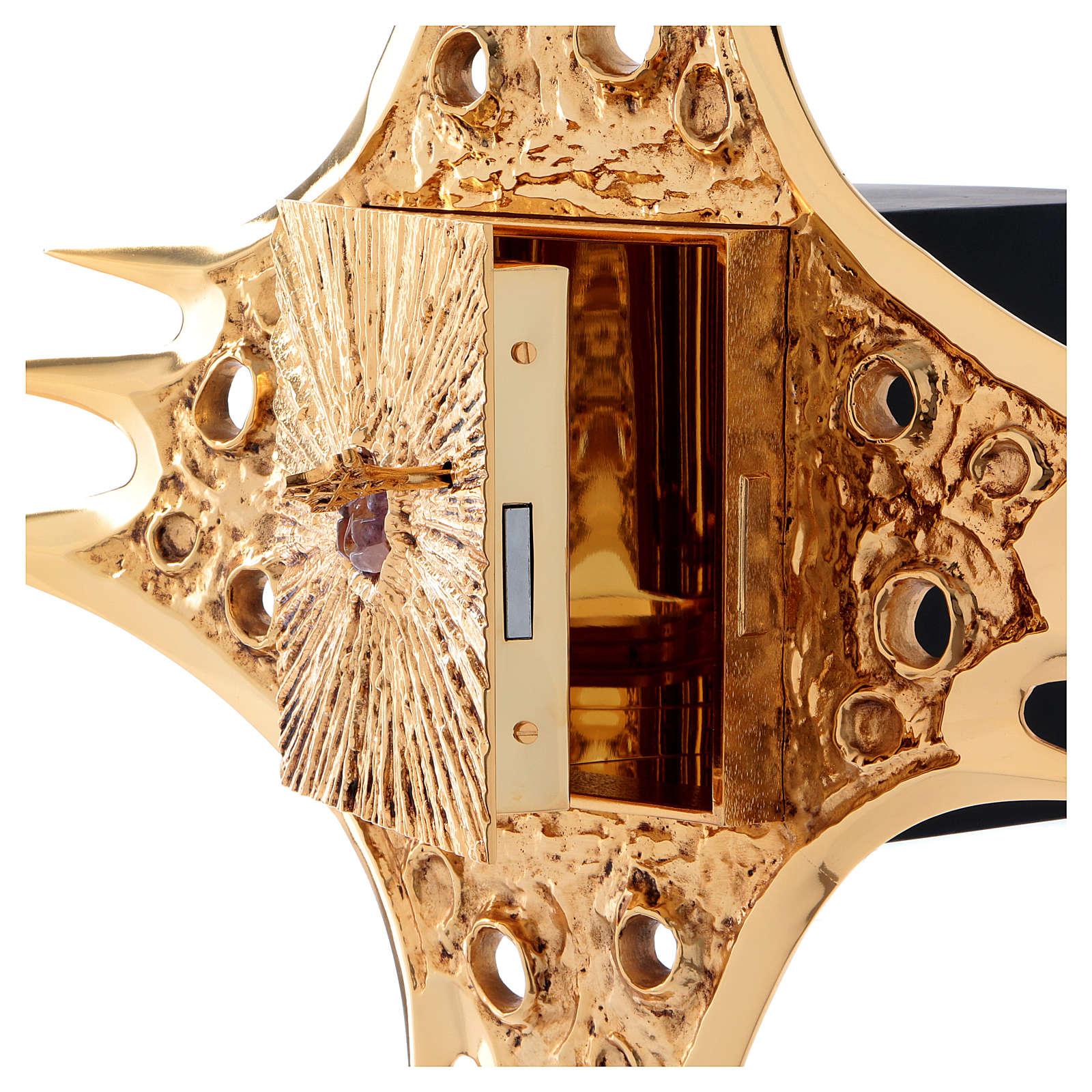 Tabernacolo parete ottone dorato fori 80x80 cm 4