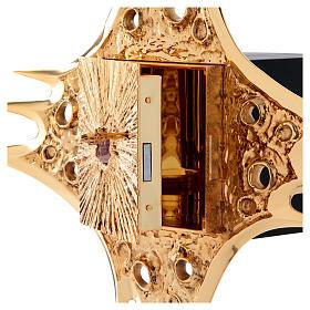 Tabernacolo parete ottone dorato fori 80x80 cm s7
