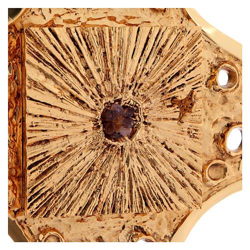 Tabernacolo parete ottone dorato fori 80x80 cm 5