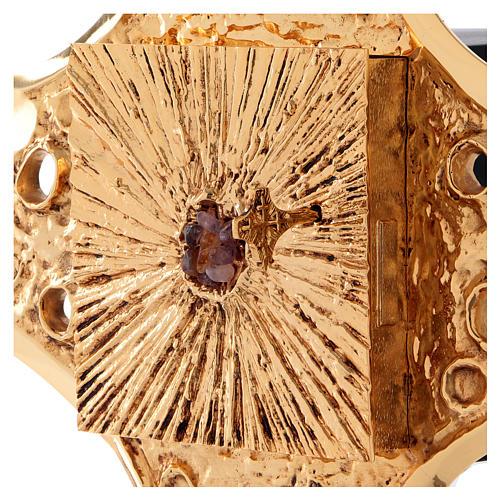 Tabernacolo parete ottone dorato fori 80x80 cm 6