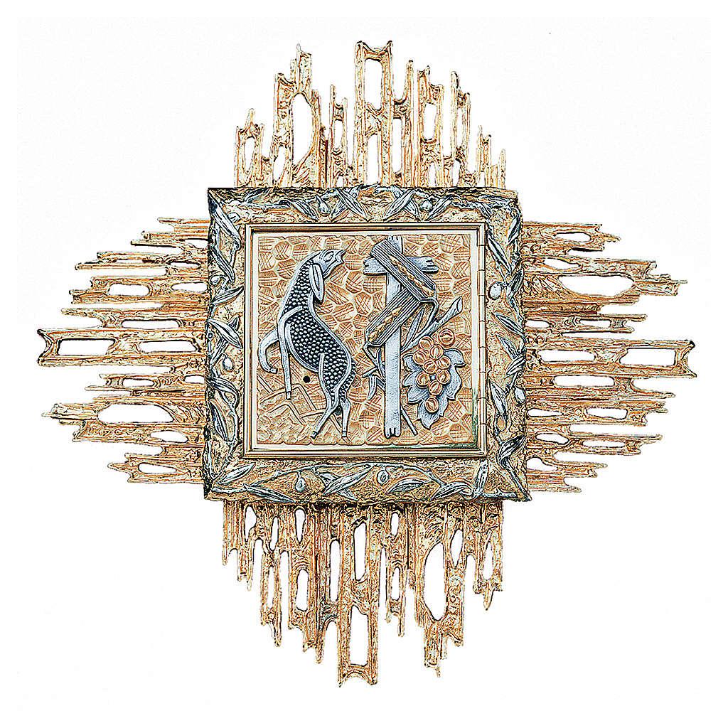 Tabernacolo da parete ottone fuso bicolore oro argento 4
