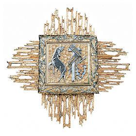 Tabernacolo da parete ottone fuso bicolore oro argento s1