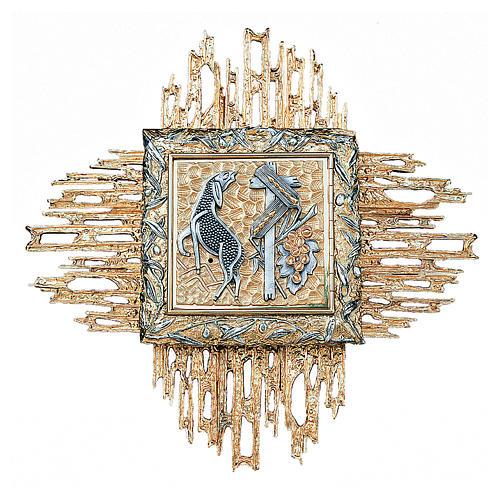 Tabernacolo da parete ottone fuso bicolore oro argento 1