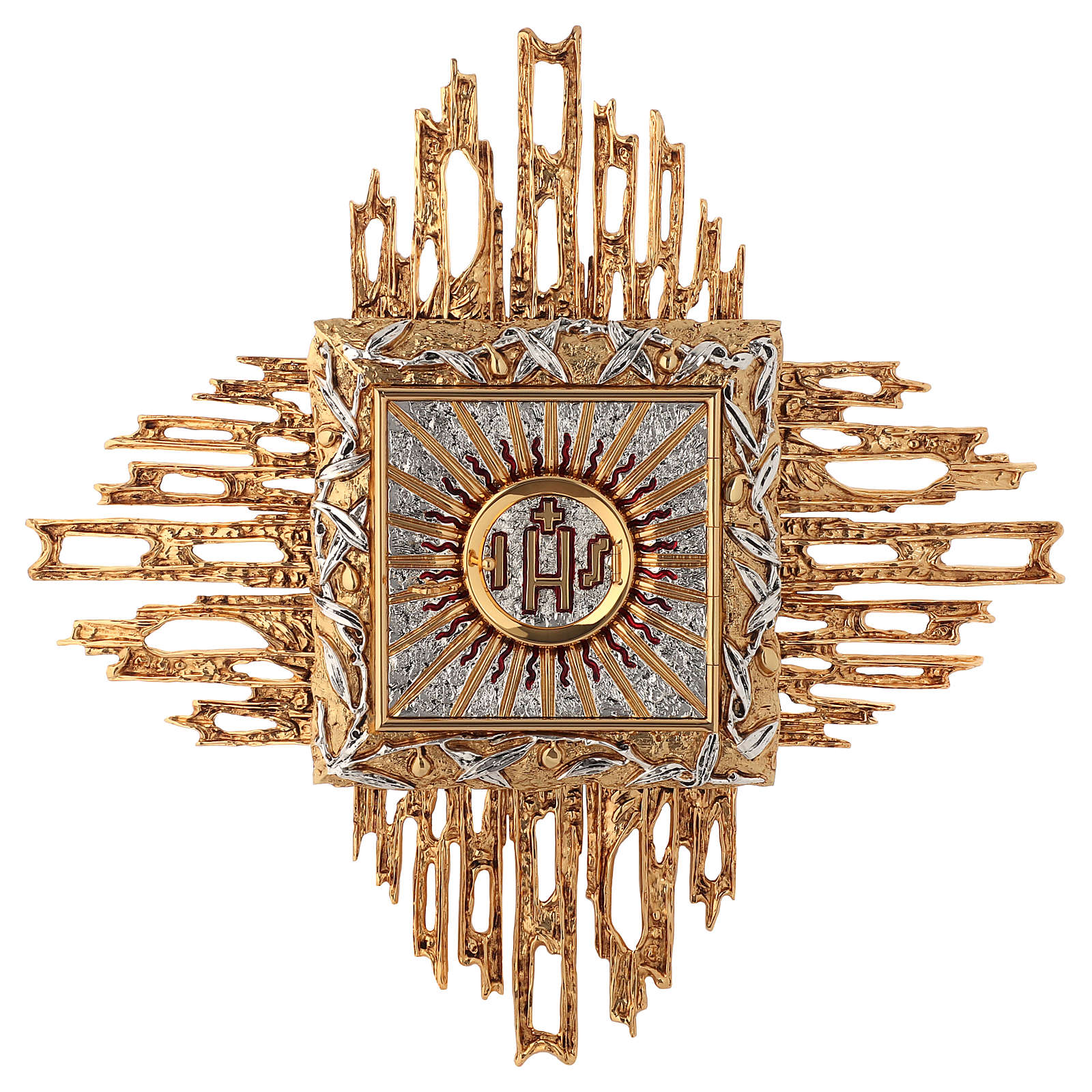 Tabernacolo da parete ottone fuso oro argento JHS 4