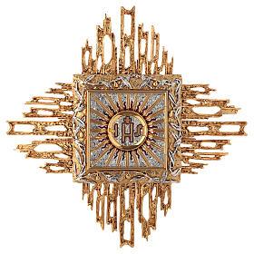 Tabernacolo da parete ottone fuso oro argento JHS s1