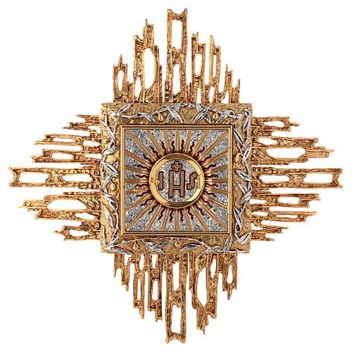 Tabernacolo da parete ottone fuso oro argento JHS 1
