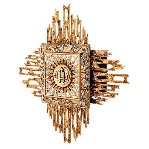 Tabernacolo da parete ottone fuso oro argento JHS 2