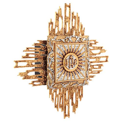 Tabernacolo da parete ottone fuso oro argento JHS 3